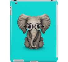Cute Baby Elephant Calf with Reading Glasses on Blue iPad Case/Skin