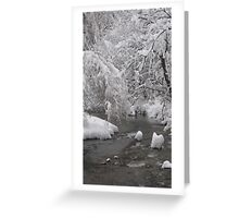 Freezing river, blanketed in snow Greeting Card