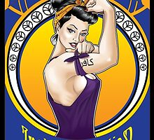 Disobey - Art Nouveau style Rosie the Riveter w/ black border by Neal Wollenberg