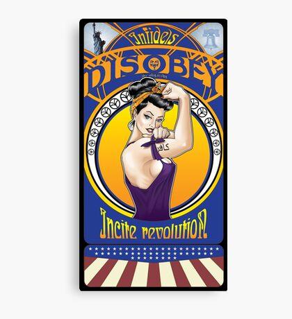 Disobey - Art Nouveau style Rosie the Riveter w/ black border Canvas Print