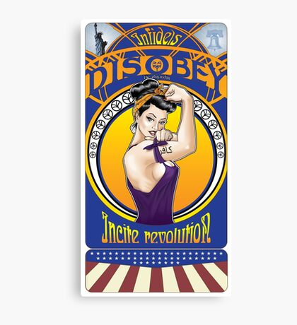 Disobey - Art Nouveau style Rosie the Riveter retro style pin up graphic Canvas Print
