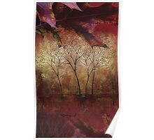 Fall Trees at the Cabin Fine Art Painting Poster