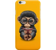 Cute Baby Chimpanzee Reading a Book on Yellow iPhone Case/Skin