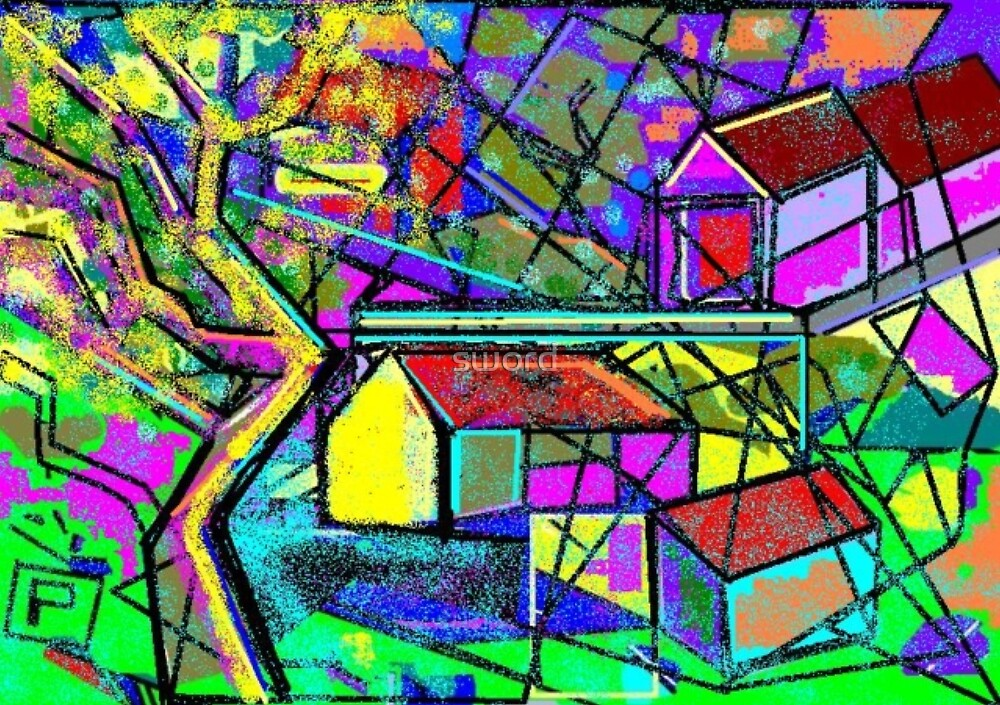 Tuscan landscape (from my computer digital abstract painting) by sword
