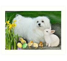Snowdrop the Maltese at Easter Art Print