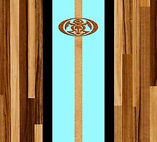 Rocky Point Hawaiian Engineered Faux Wood Surfboard - Aqua by DriveIndustries