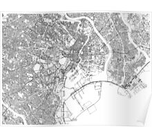 Streets - Tokyo (Black on White) Poster