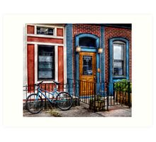 Bicycle with building Art Print
