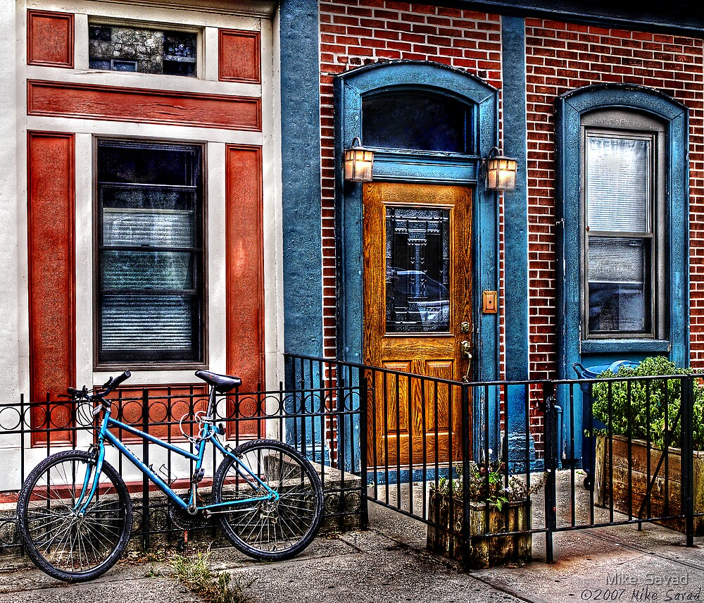 Bicycle with building by Mike  Savad