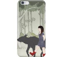 Red Riding Boots And Big Black Wolf iPhone Case/Skin