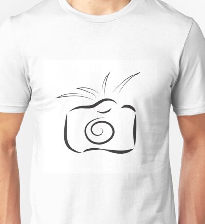 black outline of camera isolated on white background Unisex T-Shirt