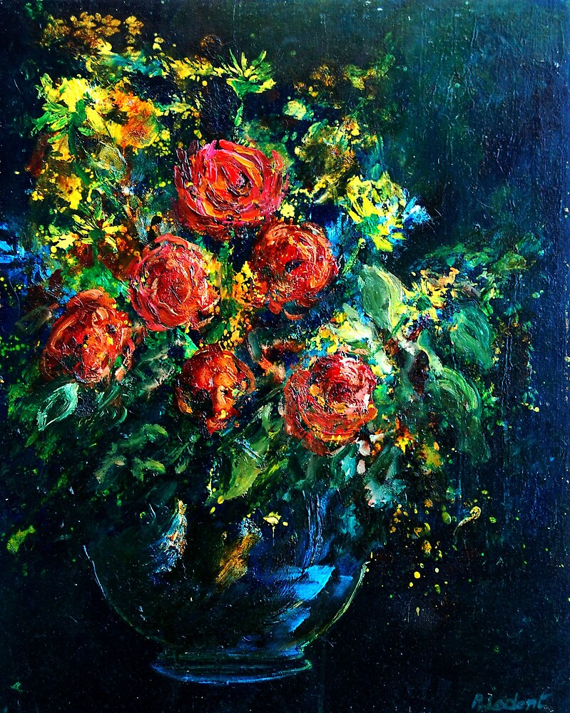 Roses in a vase by calimero