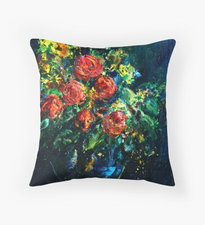 Roses in a vase Throw Pillow