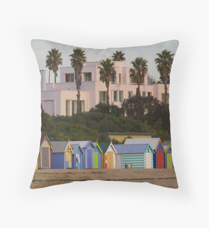 Beach Sheds and Mansion Throw Pillow