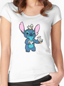 Stitch with Ducks Women's Fitted Scoop T-Shirt