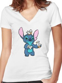 Stitch with Ducks Women's Fitted V-Neck T-Shirt