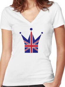 Crown United Kingdom flag Women's Fitted V-Neck T-Shirt