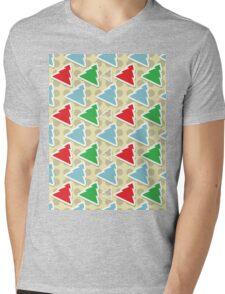Retro Polka Dot Christmas Trees Mens V-Neck T-Shirt