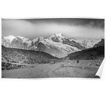 Kanchenjunga and Hikers Poster