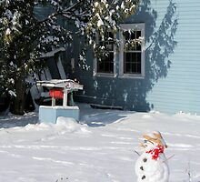 Snowman in Rural Vermont by jonathaninvermont
