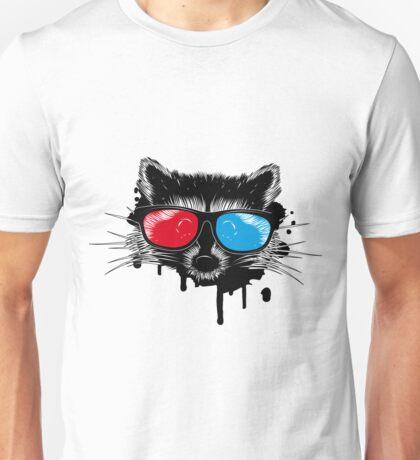 Waschbär mit 3D Brille Unisex T-Shirt