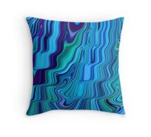 Blue Tones Flowing Together Abstract Design Pattern Art Throw Pillow
