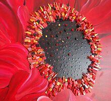 RED GERBERA by Julee Latimer Mosaics