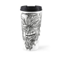 Fight The Rage Drawing Unique Art Design Black and White Travel Mug