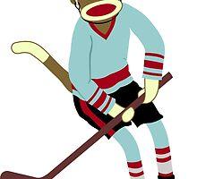 Sock Monkey Hockey Player by pounddesigns
