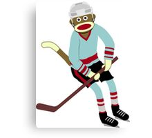 Sock Monkey Hockey Player Canvas Print
