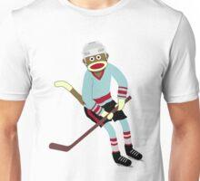 Sock Monkey Hockey Player Unisex T-Shirt
