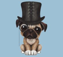 Cute Pug Puppy with Monocle and Top Hat on Blue T-Shirt