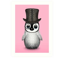 Cute Baby Penguin with Monocle and Top Hat on Pink Art Print