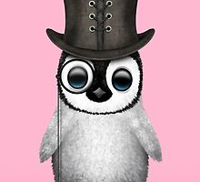 Cute Baby Penguin with Monocle and Top Hat on Pink by Jeff Bartels