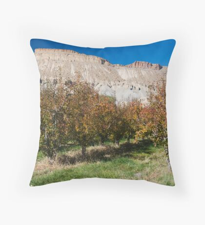 Peach orchard and Mt. Garfield in Autumn Throw Pillow