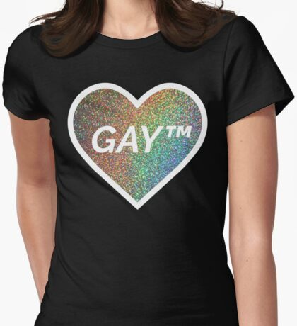 Gay Trademark Symbol - rainbow holographic sparkle heart Womens Fitted T-Shirt