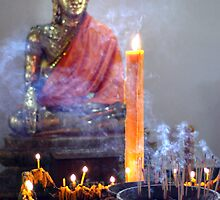 Buddha And Candles by Dave Lloyd