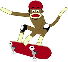 Sock Monkey Skateboarder by pounddesigns