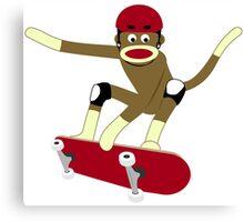 Sock Monkey Skateboarder Canvas Print