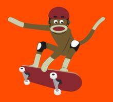 Sock Monkey Skateboarder Kids Tee