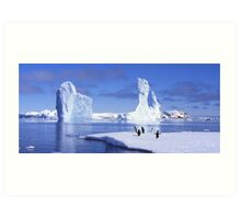 Penguins on Ice Art Print