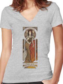 Steampunk Nouveau- Cream Women's Fitted V-Neck T-Shirt