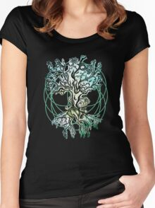Coloured psychedelic tree Women's Fitted Scoop T-Shirt