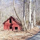 Red Shed on side of the road by Valeria Lee