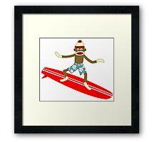 Sock Monkey Surfer Framed Print