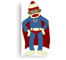 Sock Monkey Superhero Canvas Print