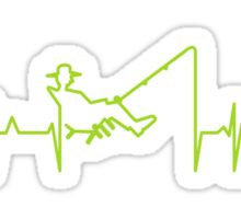 My heart beats for fishing (green) VRS2 Sticker