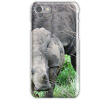 UP CLOSE WITH RHINO BABY AND MOTHER - White Rhinoceros - Ceratotherium sumum  iPhone Case/Skin