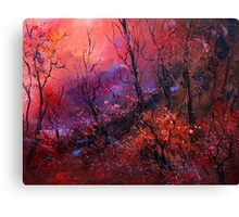 sunset in the wood Canvas Print
