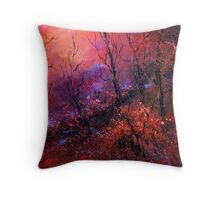 sunset in the wood Throw Pillow